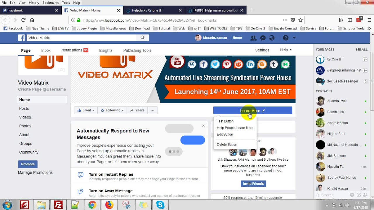 Send message button add in Facebook page image