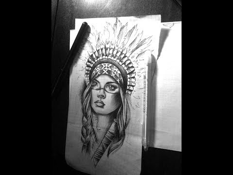 Native American Indian girl tattoo designs