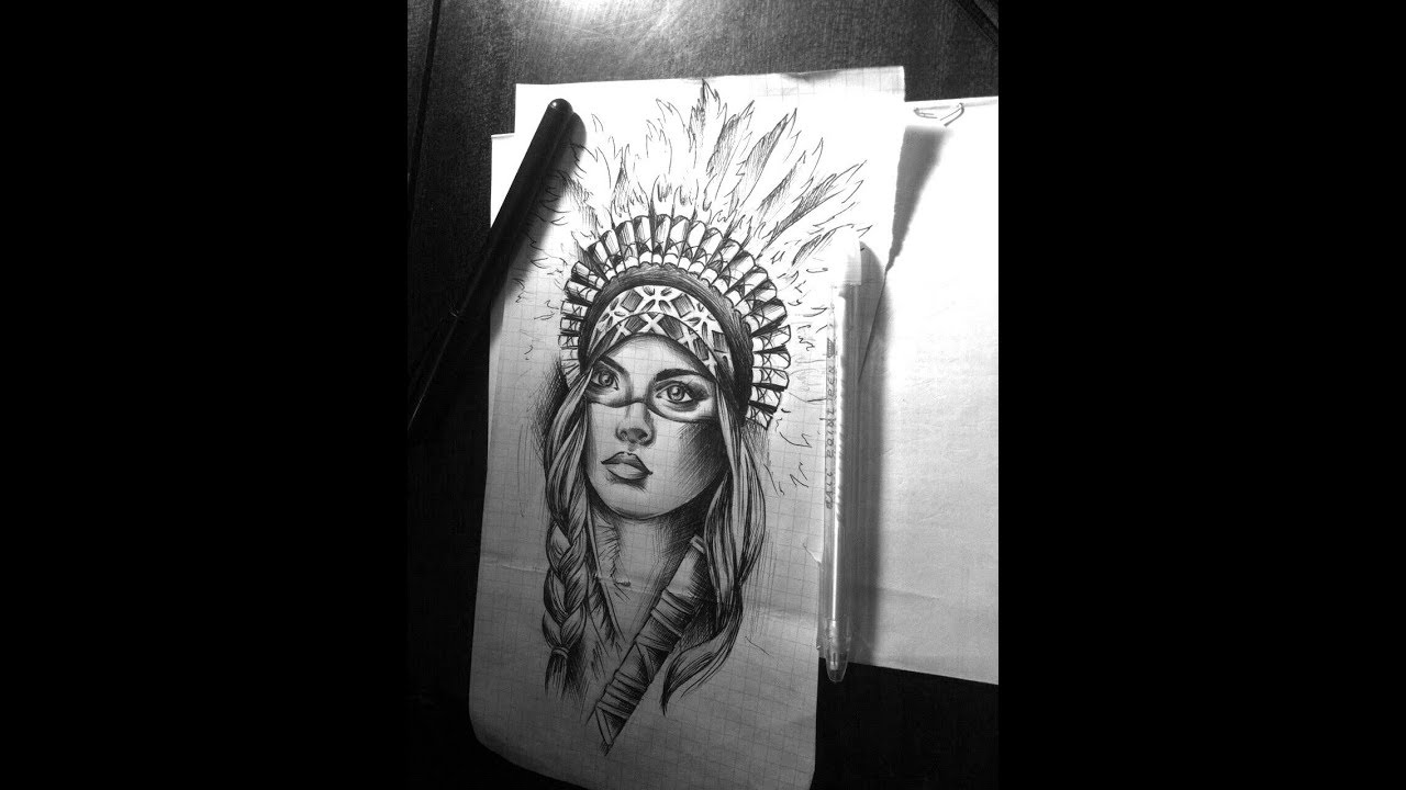 Native American Indian Girl Tattoo Designs Youtube