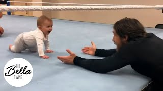 BIRDIE'S WWE IN-RING DEBUT! The Bird tags her daddy in with a cute smooch!