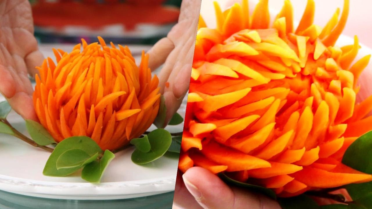 How To Cut Pumpkin into a Flower | Vegetable Carving | Food Decoration