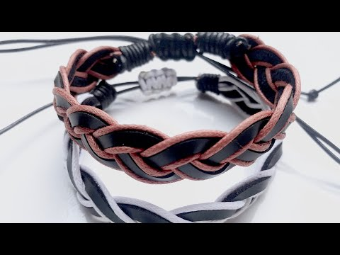 DIY LEATHER BRACELET FOR MEN // Adjustable Leather Bracelets For Men // Men's Jewelry Making Ideas