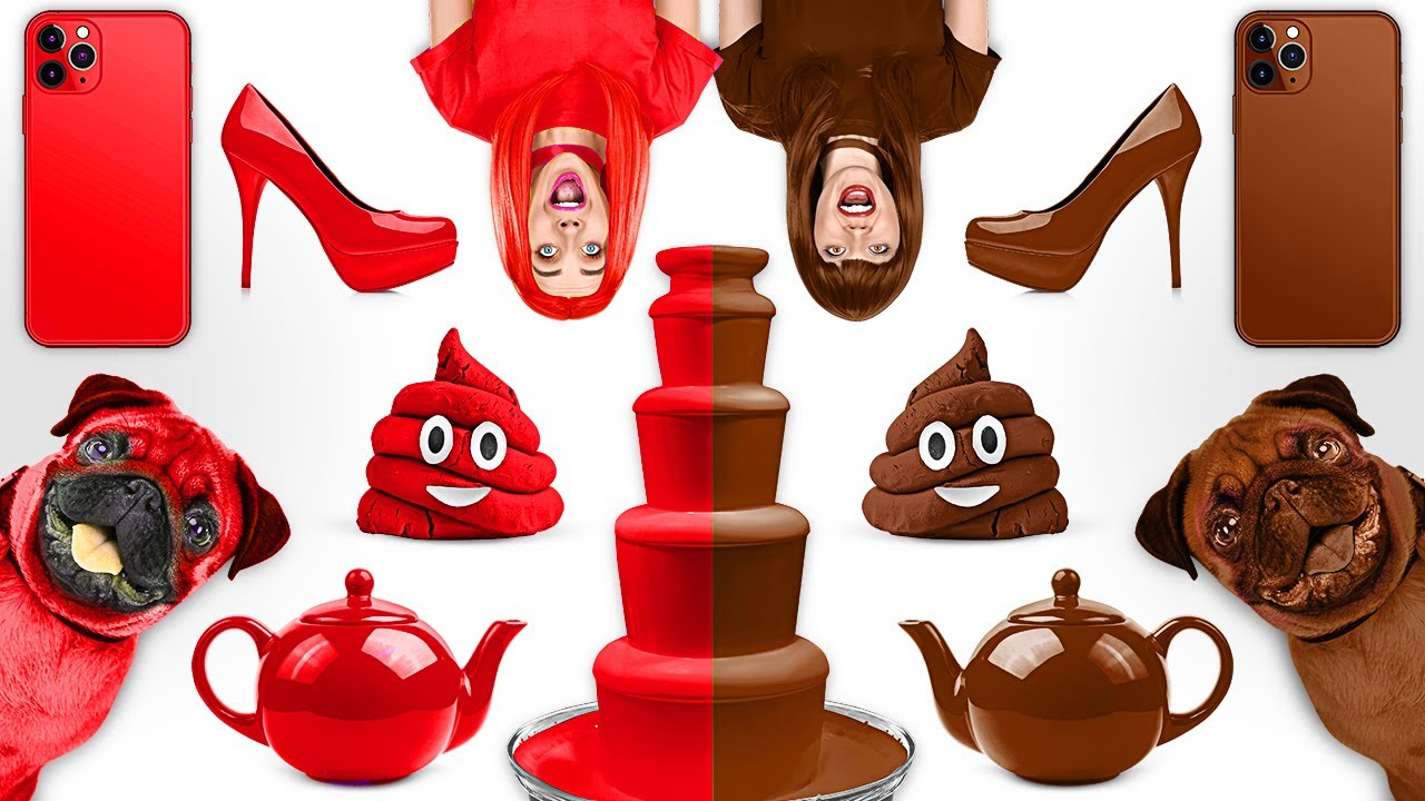 CHOCOLATE VS REAL FOOD CHALLENGE ||  Rich VS Broke Girl! Chocolate Fondue Challenge by 123 GO! FOOD