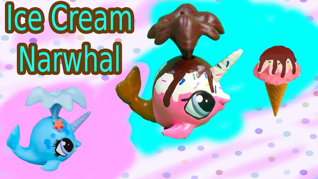 Custom Lps Narwhal Chocolate Rainbow Sprinkle Ice Cream