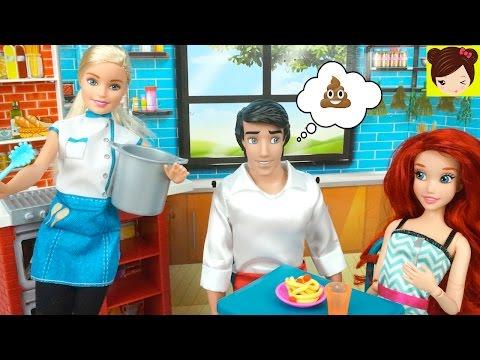 Barbie Spaghetti Chef Cocina para La Princesa Ariel y Eric - Juguetes de Barbie con Plastilina