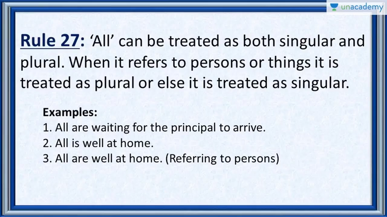 Subject Verb Agreement Rule 27 How To Use The Word All Singular