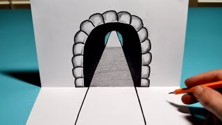 How to Draw a 3D Tunnel - Easy Trick Art Optical Illusion Drawing
