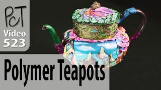Polymer Clay Embellished Teapots by Claudia Rubinstein