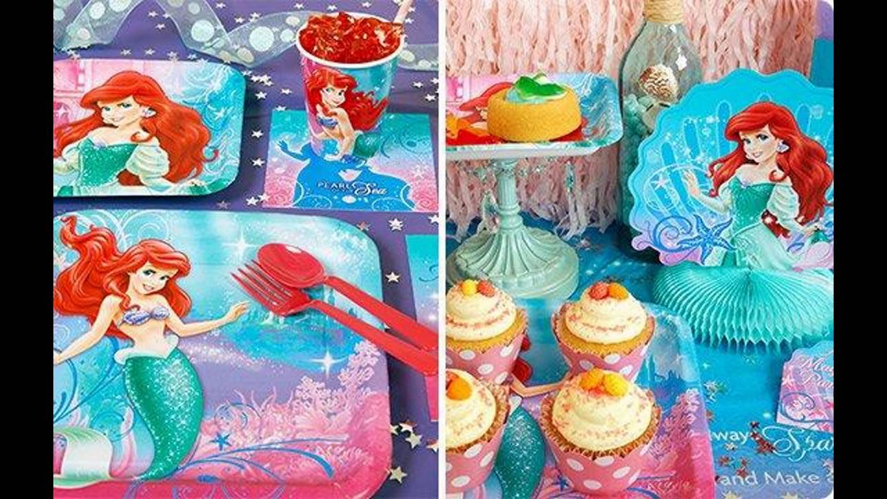 Little mermaid birthday party themed decorating ideas  sc 1 st  YouTube & Little mermaid birthday party themed decorating ideas - YouTube