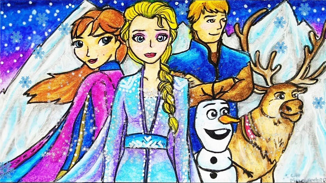 Cara Menggambar Dan Mewarnai TEMA FROZEN 2 Elsa Anna Olaf Kristoff Sven Yang Bagus Dan Mudah