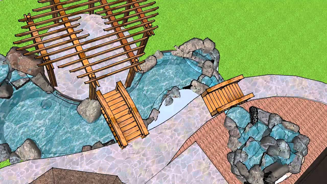 3d waterfall design google sketchup youtube for Waterfall design model