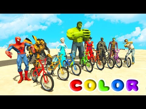 FUN LEARN COLORS BMX and JETSKI w/ SUPERHEROES for Children Nursery Rhymes - Видео из Майнкрафт (Minecraft)