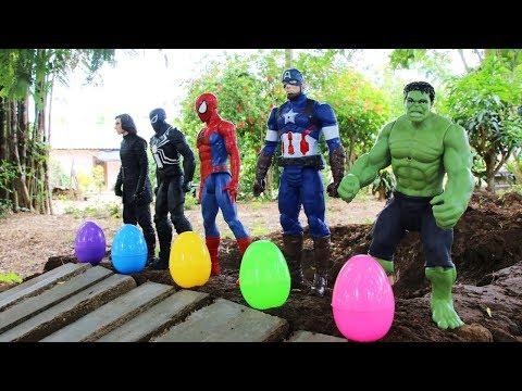 ไข่เซอร์ไพรส์ของ Superhero   สไลเดอร์รถของเล่น วีดีโอสำหรับเด็ก