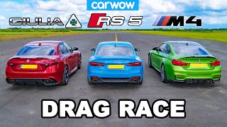 BMW M4 vs Audi RS5 vs Alfa Giulia Quadrifoglio: DRAG RACE