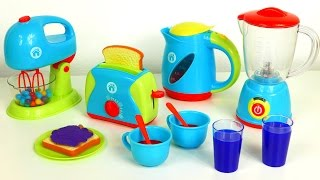 Just Like Home Kitchen Appliance Set Playset Blender Mixer Toaster Coffee Kettle Cooking Breakfast