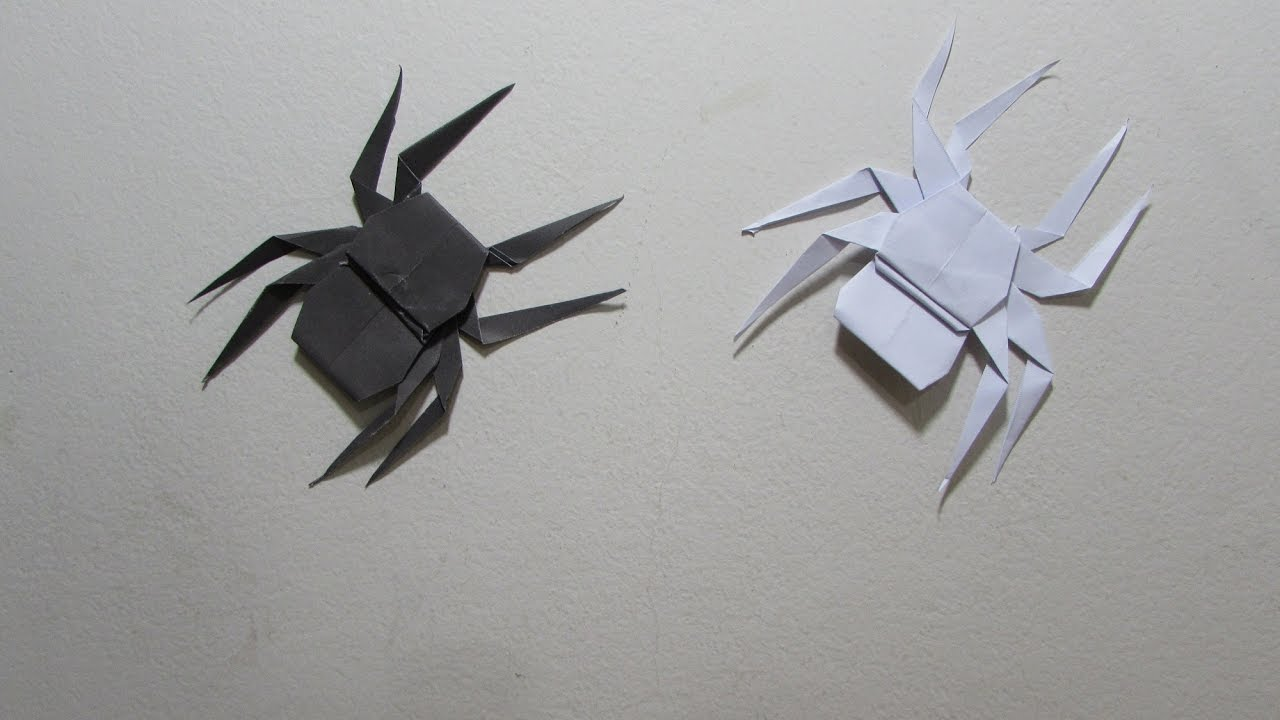 how to make a paper spider easy tutorial origami youtube