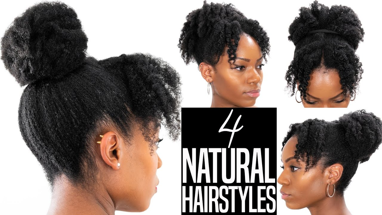 4 Natural Hairstyles Twist Out Updo Hairstyles With Bangs Fringe 4b 4c Hair Youtube