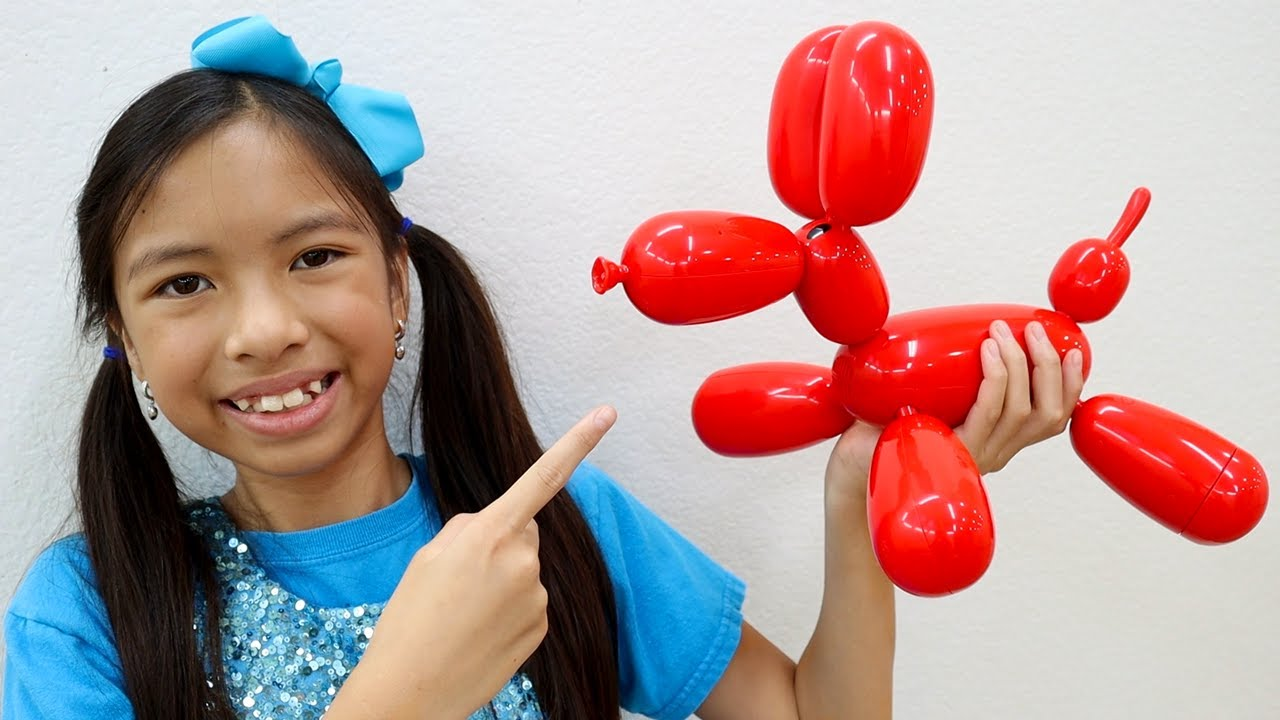 Wendy Pretend Play with New Pet Balloon Dog Toy Squeakee for Kids