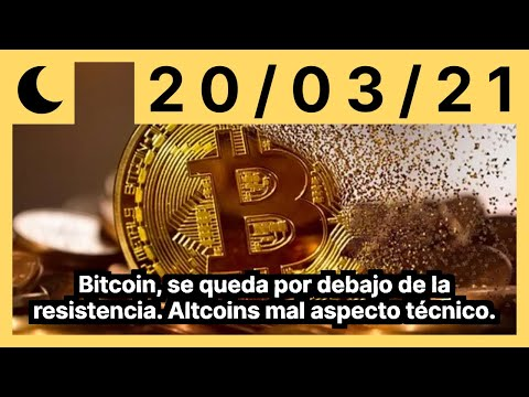 Bitcoin, se queda por debajo de la resistencia. Altcoins mal aspecto técnico.