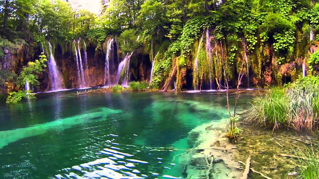 9466, Laguna de agua cristalina con cascadas [Efecto], Paisajes ...
