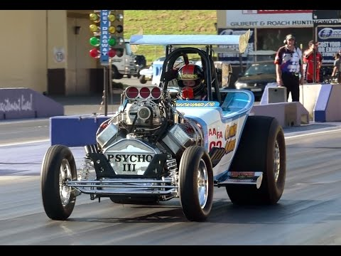 PSYCHO III AA/FA SUPERCHARGED V8 DRAGSTER 7.17 @ 201 MPH SYDNEY DRAGWAY 28.9.2014