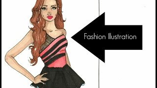 Fashion Illustration : Prisma Color Cocktail Dress