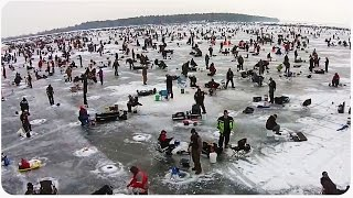 Drone Flies Over World's Biggest Ice Fishing Charity Event