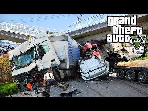 Разбилась фура - грузовик попал в аварию! Реальная жизнь гта 5 моды Gta 5
