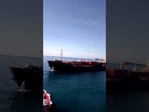 Ships docking in Jamaica