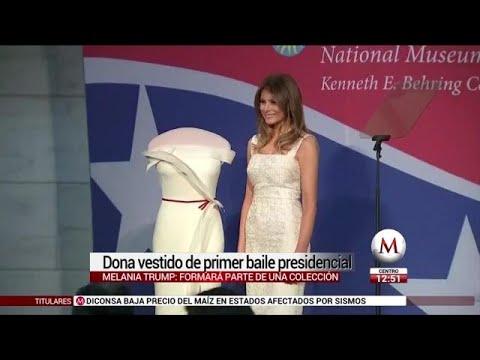 Melania Trump dona vestido del primer baile presidencial