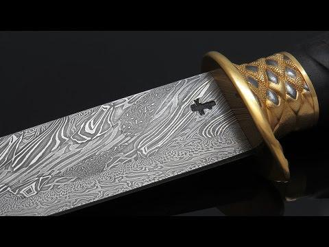 ALLIGATOR. Охотничий нож авторской работы. FORGING DAMASCUS STEEL .