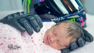 3-Week-Old Smiles In Heartbreaking Photo With Late Father's Motorcycle Gloves