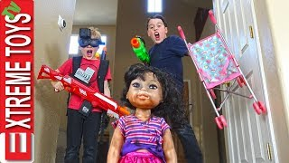Crazy Doll Returns! Sneak Attack Squad Wild Nerf Blaster Mayhem!