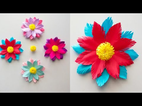 How to make Easy Paper flowers step by step / Easy paper flowers / Diy paper craft /paper flowers