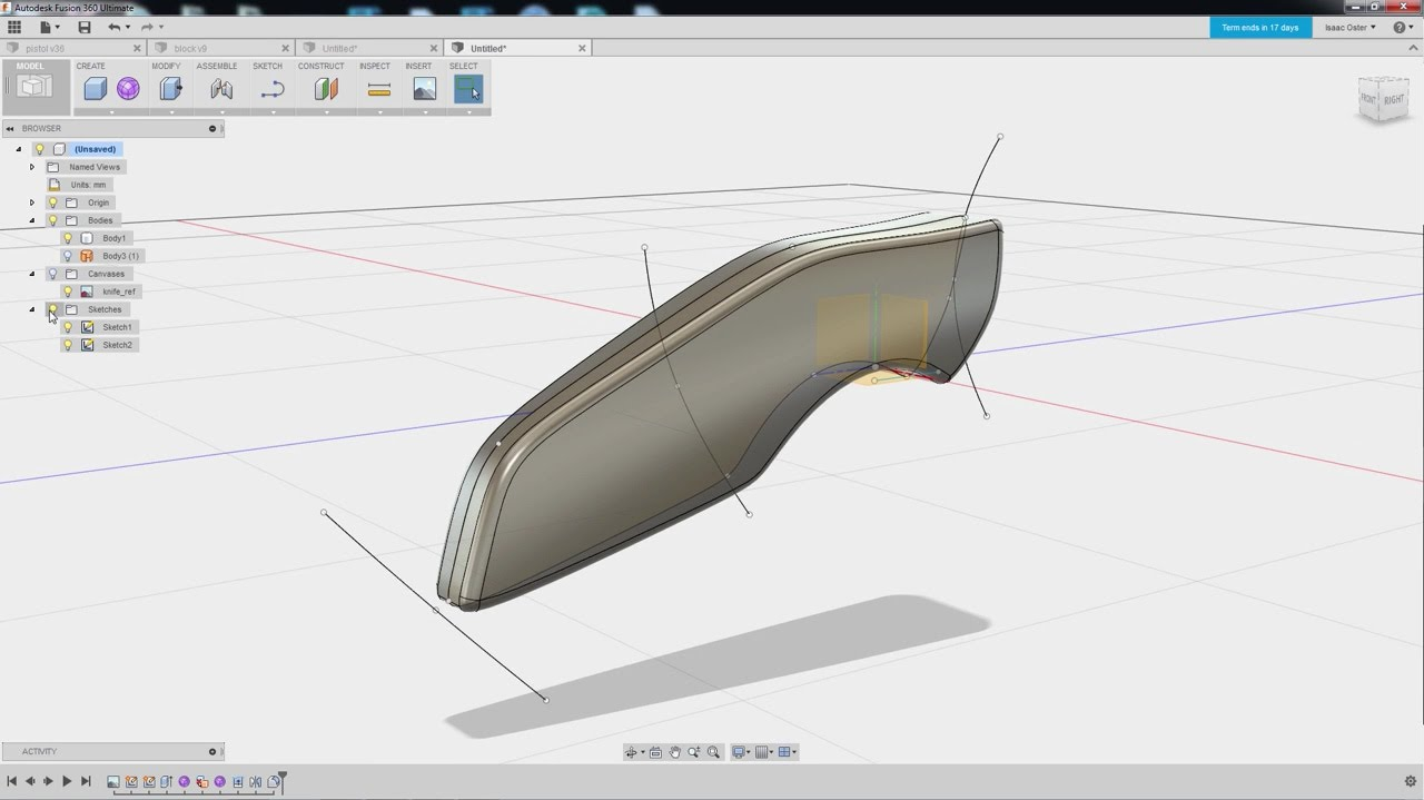 Fusion 360 for Game Artists: Ch 04 - Attached Canvas, Splines, Duplicating  Sketches, more