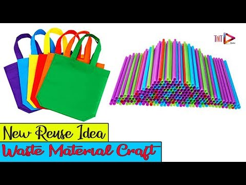 Recyclable Shopping Bags and Drinking Straws Wall Hanging | Waste Material Home Decoration Craft