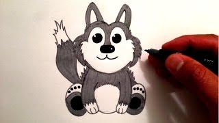 wolf cute draw