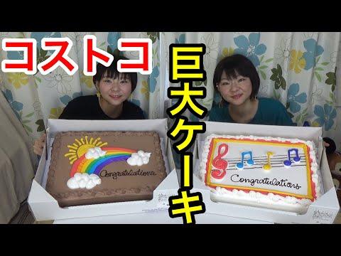 【大食い】【コストコ】10万人突破記念!巨大ケーキ!【双子】