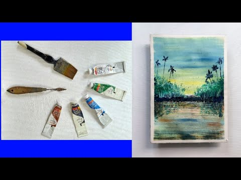 Easy abstract landscape painting | sea scenery  |for beginners | demo in acrylic |landscape demo