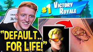 "TFUE GETS ""DEFAULT SKIN"" TATTOO *LIVE* WHILE WINNING SOLO GAMES in Fortnite!"