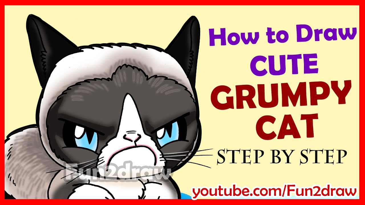 How to Draw a Grumpy Cat Cute + Easy - YouTube