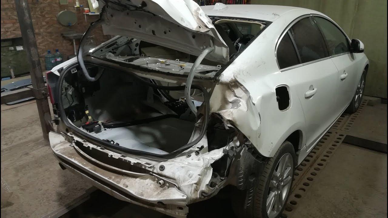 Volvo S60.Удар в зад.Кузовной ремонт.Часть1