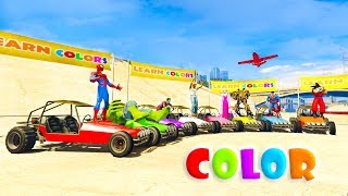 LEARN COLORS BUGGY and BOATS with SUPERHEROES Cartoon for kids 3D animation