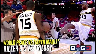 Ron Artest KICKS Ball Into The Crowd & Gets Ejected! PISSED at Ref! 😂 Killer 3's vs Trilogy @ Big 3!