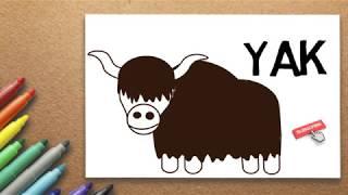 Yak Drawing   How to Draw a Yak Step by Step   Massive Kidszone