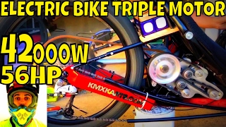 42000w 56hp Electric Bike Triple Motor (video#3) YES, the monster is rolling! First tests at 300A(Yeeeahhh.. please SUBSCRIBE and LIKE this video to support this channel =] ElectricBikePower on Instagram: https://www.instagram.com/electricbikepower/ ..., 2017-01-24T21:48:06.000Z)