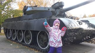 Ulyana Walks in the Historical Park / Real Tank vs Toy Tank Adventures for children