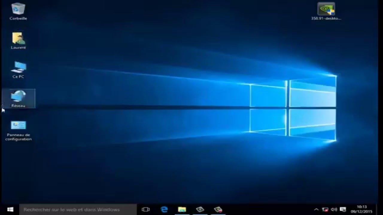 Windows 10 afficher ce pc panneau de configuration sur le bureau youtube - Afficher le bureau windows 7 ...