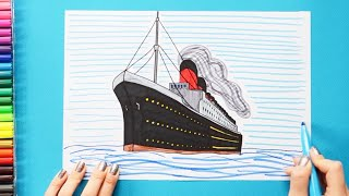 How to draw and color the Titanic