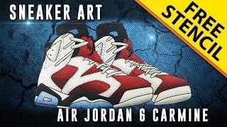 Sneaker Art: Air Jordan 6 Carmine w/ FREE Stencil